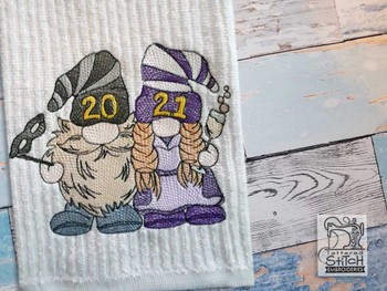 "2021 New Years Gnomes  - Fits a  4x4"", 5x7"" &  6x10"" Hoop - Machine Embroidery Designs"