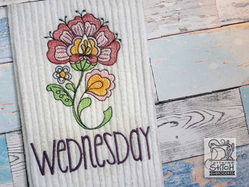 """Jacobean - Wednesday - Fits into a 4x4"""" & 5x7"""" Hoop - Instant Downloadable Machine Embroidery"""