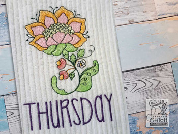 """Jacobean - Thursday - Fits into a 4x4"""" & 5x7"""" Hoop - Instant Downloadable Machine Embroidery"""
