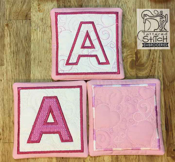 "Hearts ABCs Coaster- L - Fits a 5x7"" Hoop - Machine Embroidery Designs"