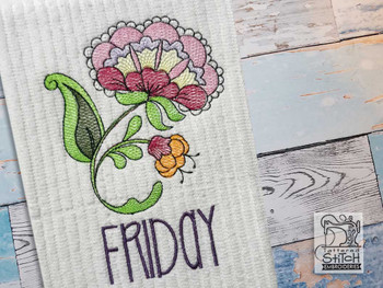"""Jacobean - Friday - Fits into a 4x4"""" & 5x7"""" Hoop - Instant Downloadable Machine Embroidery"""