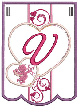 Valentine Bunting ABCs - V - Embroidery Designs