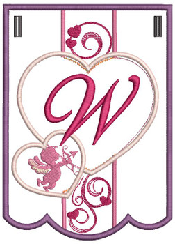 Valentine Bunting ABCs - W - Embroidery Designs