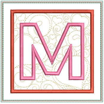 "Hearts ABCs Coaster- M - Fits a 5x7"" Hoop - Machine Embroidery Designs"
