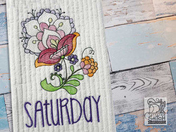 """Jacobean - Saturday - Fits into a 4x4"""" & 5x7"""" Hoop - Instant Downloadable Machine Embroidery"""