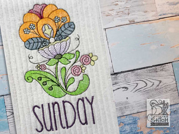 """Jacobean - Sunday - Fits into a 4x4"""" & 5x7"""" Hoop - Instant Downloadable Machine Embroidery"""
