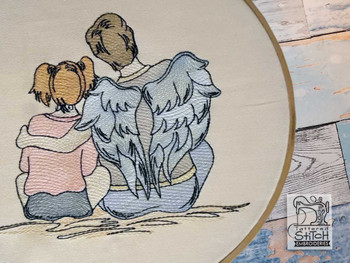 "Guardian Angel 1 - Fits into a 4x4"", 5x7"" & 8x8"" Hoop - Instant Downloadable Machine Embroidery"