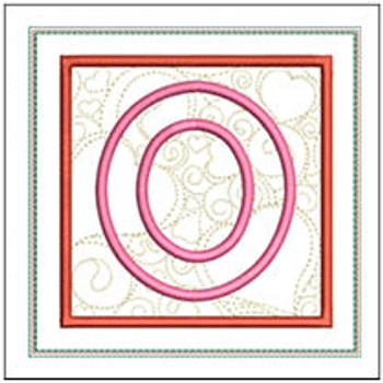 "Hearts ABCs Coaster- O - Fits a 5x7"" Hoop - Machine Embroidery Designs"