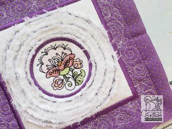 """Jacobean 1 Chenille QB -  Fits a   6x6"""", 7x7"""", 8x8"""" & 10x10""""  Hoop - Machine Embroidery Designs"""