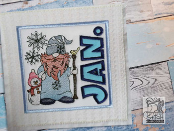 "January Gnome Quilt Block -  Fits a   6x6"", 7x7"", 8x8"" & 10x10""  Hoop - Machine Embroidery Designs"