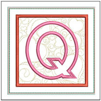 "Hearts ABCs Coaster- Q - Fits a 5x7"" Hoop - Machine Embroidery Designs"