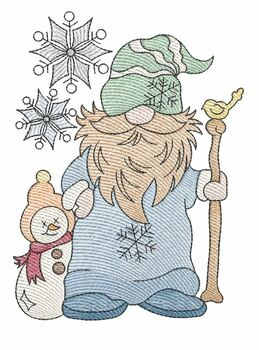 "January Winter Gnome -  Fits a   4x4"", 5x7"", 6x10""  Hoop - Machine Embroidery Designs"