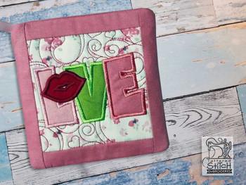 "Love Applique Pot Holder- Fits a 6x6"" & 8x8"" Hoop - Machine Embroidery Designs"
