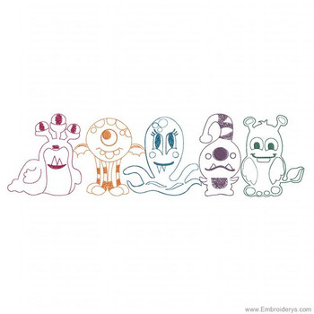 Monster Crew Border - Embroidery Designs