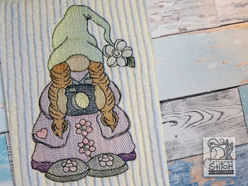 "Girl Camera Gnome -  Fits a   4x4"", 5x7"", 6x10""  Hoop - Machine Embroidery Designs"