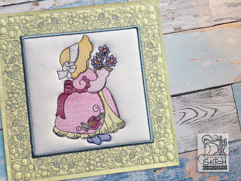 "Sunbonnet Sue Quilt Block 1 -  Fits a  5x5"", 6x6"", 7x7"", 8x8"" & 10x10""  Hoop - Machine Embroidery Designs"