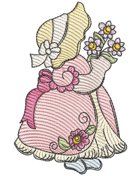 "Sunbonnet Sue 1 -  Fits a 4x4""  5x7"" & 6x10"" Hoop - Machine Embroidery Designs"