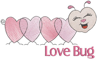 "Love Bug - Fits into a 4x4"" & 5x7"" Hoop - Instant Downloadable Machine Embroidery"
