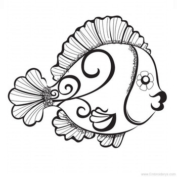 Beautiful Angel Fish - Embroidery Designs