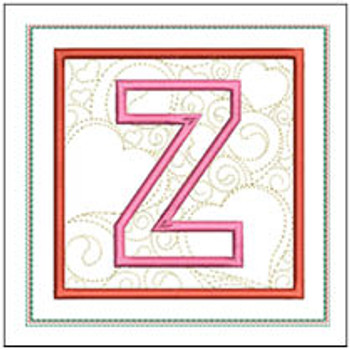 "Hearts ABCs Coaster- Z - Fits a 5x7"" Hoop - Machine Embroidery Designs"