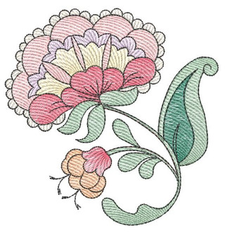 """Jacobean - 5 - Fits into a 4x4"""" & 5x7"""" Hoop - Instant Downloadable Machine Embroidery"""