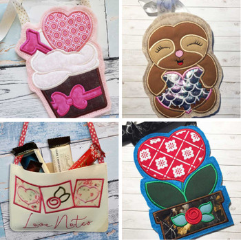 "Valentine Gift Bags Bundle- Fits a 5x7"" & 6x10"" Hoop - Machine Embroidery Designs"