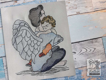 "Angel Embrace - Fits into a 4x4"", 5x7"" & 6x10"" Hoop - Instant Downloadable Machine Embroidery"