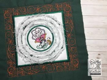 """Jacobean 6 Chenille QB -  Fits a   6x6"""", 7x7"""", 8x8"""" & 10x10""""  Hoop - Machine Embroidery Designs"""