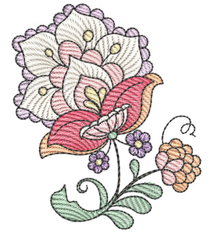 """Jacobean - 6 - Fits into a 4x4"""" & 5x7"""" Hoop - Instant Downloadable Machine Embroidery"""