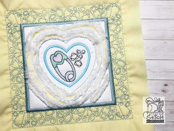 """Baby Heart 1 Chenille QB -  Fits a   6x6"""", 7x7"""", 8x8"""" & 10x10""""  Hoop - Machine Embroidery Designs"""