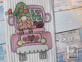 "Valentine Gnome in Truck -  Fits a 4x4"", 5x7"" & 6x10 Hoop - Machine Embroidery Designs"