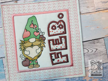 "February Gnome Quilt Block -  Fits a   6x6"", 7x7"", 8x8"" & 10x10""  Hoop - Machine Embroidery Designs"