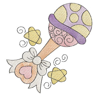 "Baby Rattle - Fits into a 4x4"" & 5x7"" Hoop - Instant Downloadable Machine Embroidery"