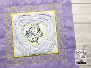 "Baby Heart 3 Chenille QB -  Fits a   6x6"", 7x7"", 8x8"" & 10x10""  Hoop - Machine Embroidery Designs"