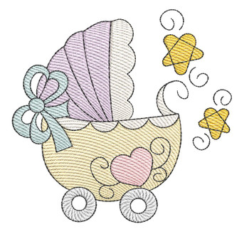 "Baby Stroller - Fits into a 4x4"" & 5x7"" Hoop - Instant Downloadable Machine Embroidery"