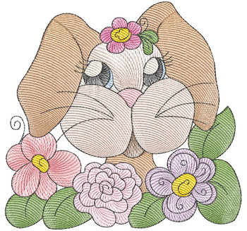 "Bunny (No QB Background)  - Fits a 4x4"", 5x7 & 8x8"" Hoop - Machine Embroidery Designs"