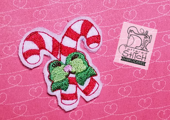 happy candy cane feltie machine embroidery designs
