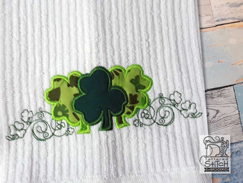 "3 Clovers Applique - Fits into a 5x7"" & 6x10"" Hoop - Instant Downloadable Machine Embroidery"