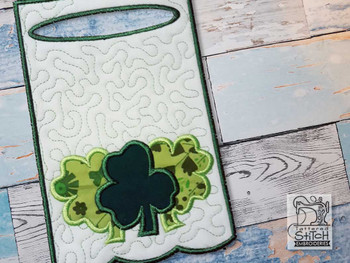 "3 Clovers Applique Towel Topper- Fits into a 5x7"" & 6x10"" Hoop - Instant Downloadable Machine Embroidery"