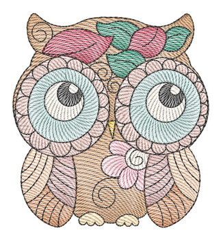 "Whimsical Owl - No Branches - Fits into a 4x4"",  5x7"" & 6x10 Hoop - Instant Downloadable Machine Embroidery"