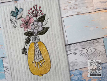 "Floral Lightbulb - Fits into a 4x4"",  5x7"" & 6x10 Hoop - Instant Downloadable Machine Embroidery"