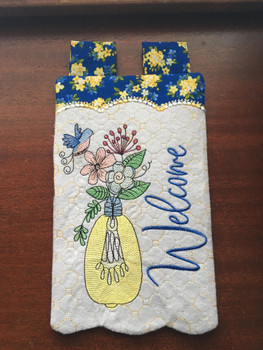 "Welcome Garden Flag - Fits  5x7, 6x10  and 8x12"" Hoop - Instant Downloadable Machine Embroidery"