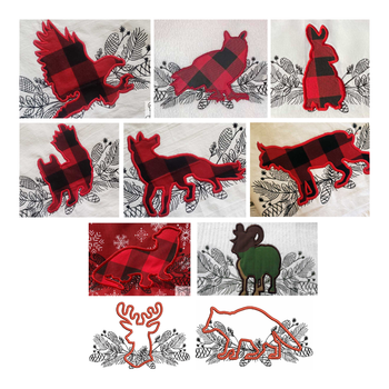 "Woodland Animals Applique Bundle 2 - Fits into 5x7"" a 6x10"" & 8x14"" Hoop - Instant Downloadable Machine Embroidery"