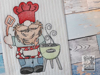 "BBQ Gnome -  Fits a 4x4"", 5x7"" & 6x10""   Hoop - Machine Embroidery Designs"