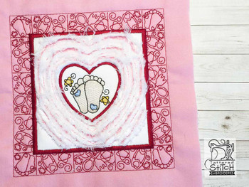 "Baby Heart 4 Chenille QB -  Fits a   6x6"", 7x7"", 8x8"" & 10x10""  Hoop - Machine Embroidery Designs"