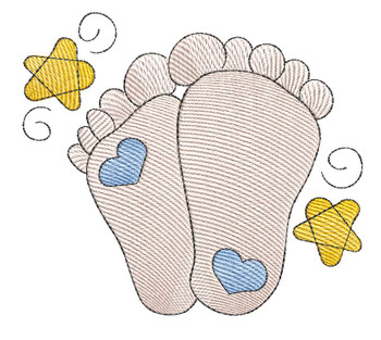 "Baby Feet - Fits into a 4x4"" & 5x7"" Hoop - Instant Downloadable Machine Embroidery"