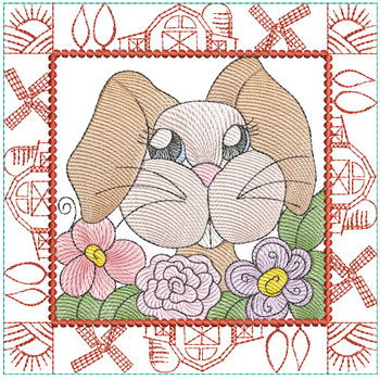 "Farm Animals - Bunny with Teeth Quilt Block #8  - Fits a 5x5"", 6x6"", 7x7"", 8x8"" & 10x10""  Hoop - Machine Embroidery Designs"