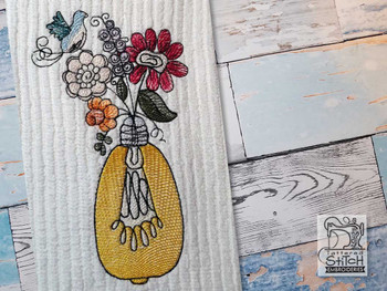 "Floral Lightbulb 2 - Fits into a 4x4"",  5x7"" & 6x10 Hoop - Instant Downloadable Machine Embroidery"