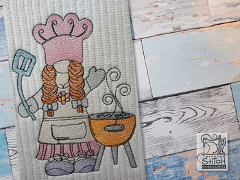 "Girl BBQ Gnome -  Fits a 4x4"", 5x7"" & 6x10""   Hoop - Machine Embroidery Designs"