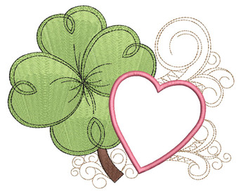 "Shamrock with Heart Applique -  Fits a 4x4"" 5x7"" & 8x8"" Hoop - Machine Embroidery Designs"